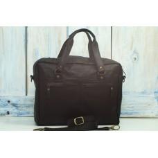 Мягкий портфель Кингсбридж в черно-коньячном цвете